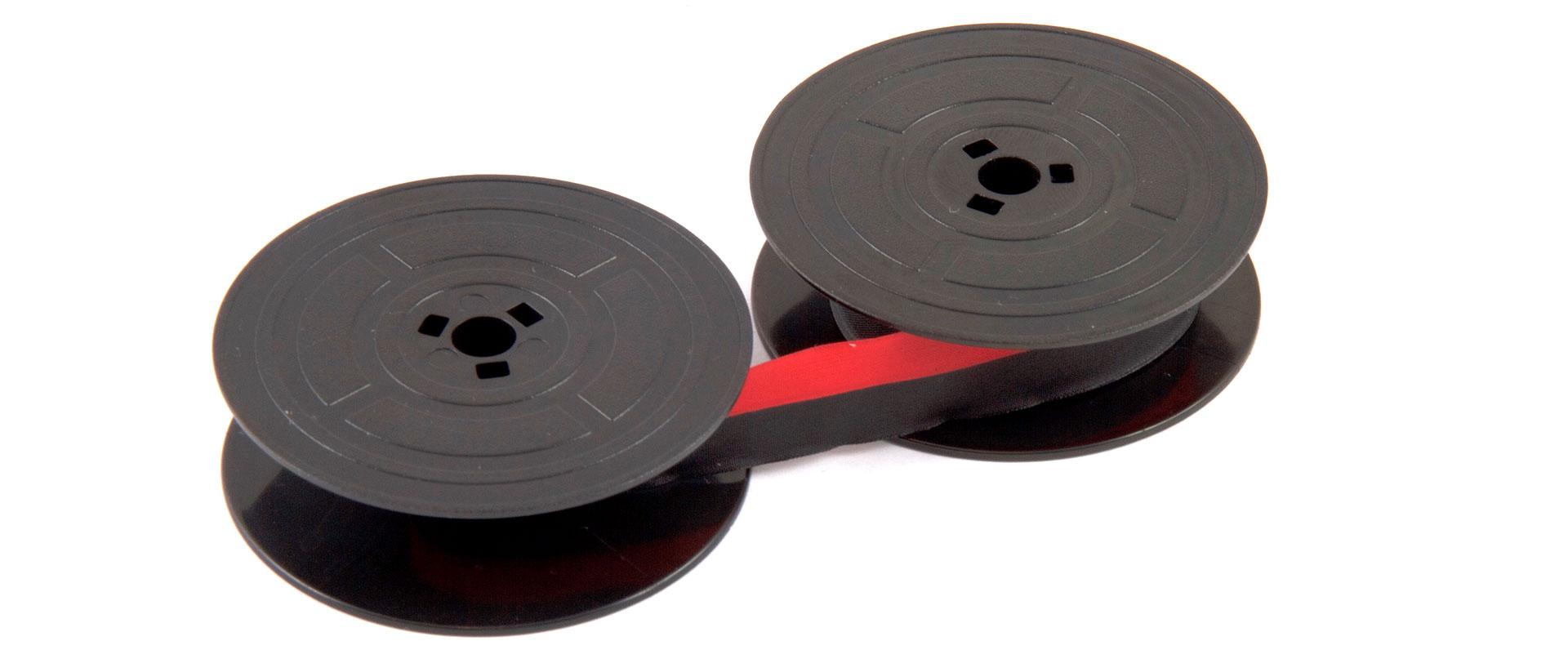 ärgband på spole och i kassett, korrigeringsband och bläckrullar
