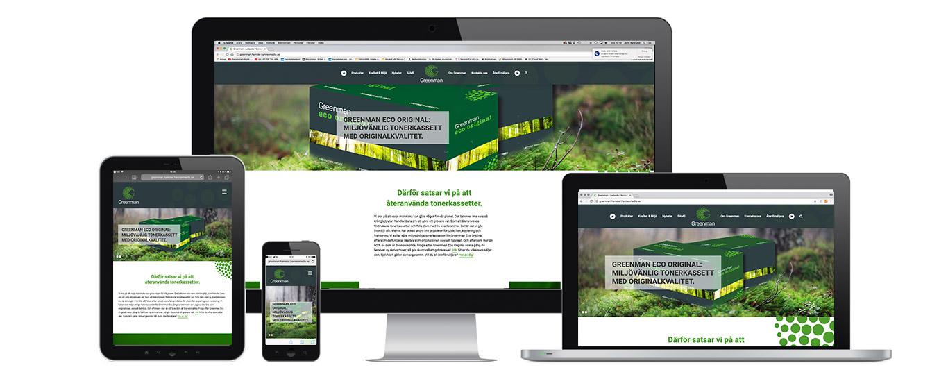 greenman.se är responsiv och fungerar på alla plattformar.